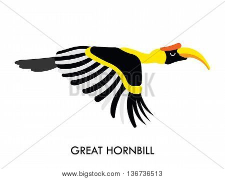 Cartoon african Hornbill bird. Vector cartoon african bird made in flat style. Isolated wild african Hornbill. Cartoon wild african bird background. Isolated african Hornbill.
