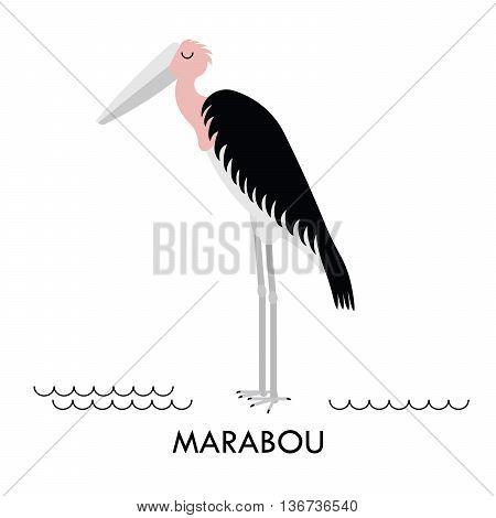 Cartoon african Marabou bird. Vector cartoon african bird made in flat style. Isolated wild african Marabou. Cartoon wild african bird background.