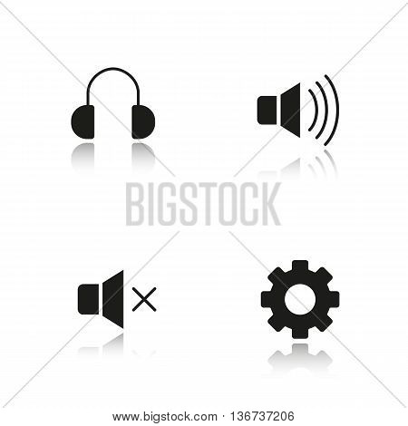 Audio player interface drop shadow black icons set. Mute on and off buttons headphones and settings symbols. Music player menu isolated vector illustrations