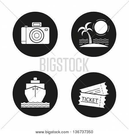 Travelling icons set. Holidays. Slr photo camera sunny island with palm cruise ship tickets. Vector white illustrations in black circles