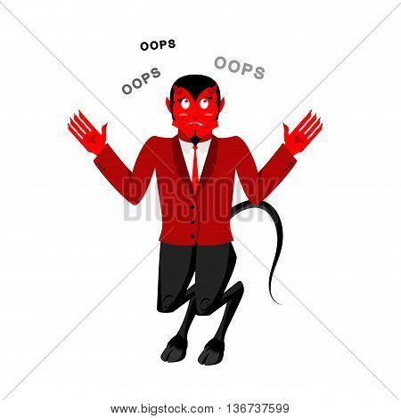 Satan Speak Oops. Surprised By Demon. Red Devil Is Perplexed. Lucifer Boss With Horns. Religious And