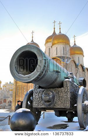 MOSCOW - FEBRUARY 10, 2015: Tsar Cannon (King Cannon) in Moscow Kremlin in winter. UNESCO World Heritage Site.