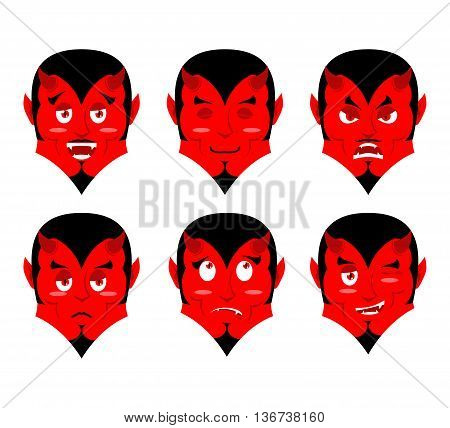 Emotions Devil. Set Expressions Avatar Satan. Red Demon Good. Lucifer Is An Evil. Diablo Discouraged