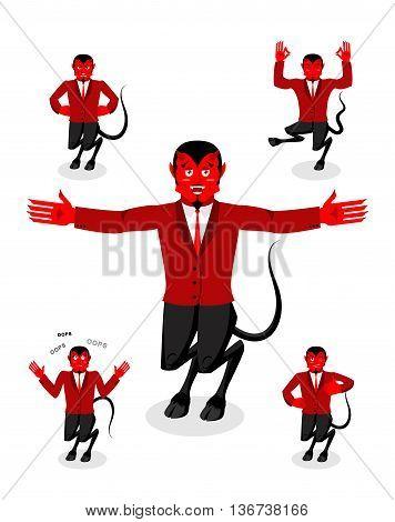 Devil Set Of Poses. Satan Set Of Movements. Horned Demon Expression Of Emotion. Diablo Religious-myt