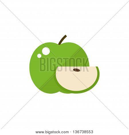 Apple fruit icon. Apple icon isolated on white background. Flat style vector illustration.