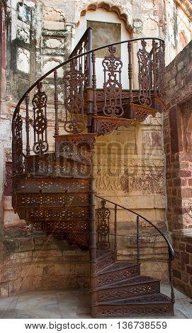 Spiral Iron Staircase In Mehrangarh Fort In Jodhpur, India