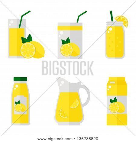 Lemon juice isolated icons on white background. Lemon juice bottle, glass, pack set. Flat style vector illustration.
