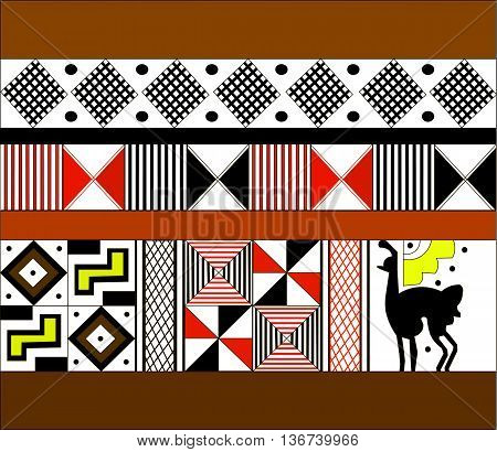Ethnic pattern of American Indians: the Aztecs, the Mayans, the Incas. Vector illustration