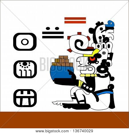 Priest holding a cup of chocolate bars. Ethnic pattern of American Indians: the Aztecs, the Mayans, the Incas. Vector illustration