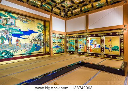 KUMAMOTO, JAPAN - DECEMBER 10, 2015: Kumamoto Castle in the Honmaru Palace Hall. The palace was used by successive daimyos as their residence and center of governance.