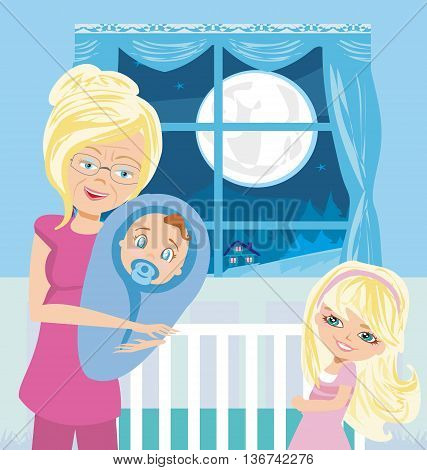grandmother with grandchildren in home at night , vector illustration
