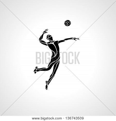 Volleyball player serving the ball - black vector silhouette. Modern simple volleyball logo. Eps 8