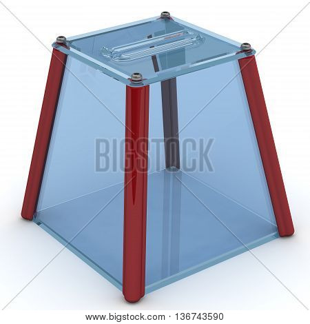 Ballot box for voting. Transparent ballot box to vote is on the white surface. Isolated. 3D Illustration