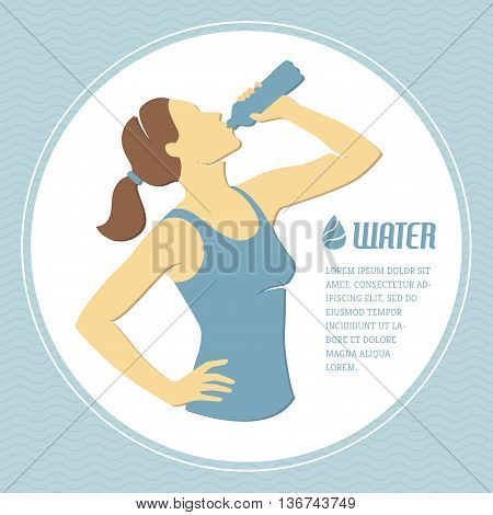 Retro illustration with girl drinking water from bottle