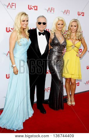 Hugh Hefner with Girls Next Door Kendra Wilkinson, Holly Madison and Bridget Marquardt at the 36th AFI Life Achievement Award held at the Kodak Theater in Hollywood, USA on June 12, 2008.