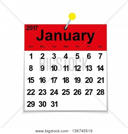 Leaf calendar 2017 with the month of January days of the week and dates