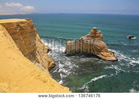 Broken Cathedral Formation In Paracas National Reserve, Peru.