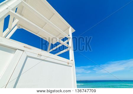 white lifeguard hut in Rena Bianca Sardinia