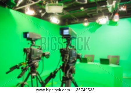 blur image TV camera in studio a green