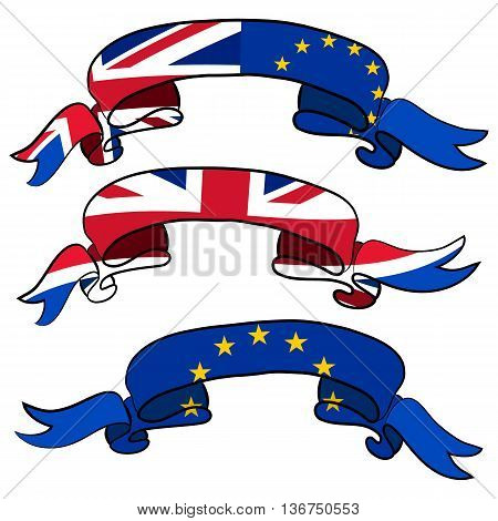 Brexit concept. Set of ribbons of England flag and European flag. Vector illustration