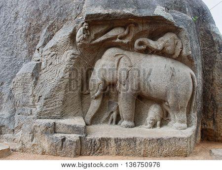 Ancient Basreliefs  And Statues   In Mamallapuram, Tamil Nadu, India