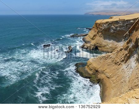 Coastline Of Paracas National Reserve In Peru.
