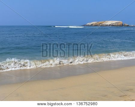 Sandy beach of Punta Hermosa in Peru. Punta Hermosa is a popular beach town not far from Lima.