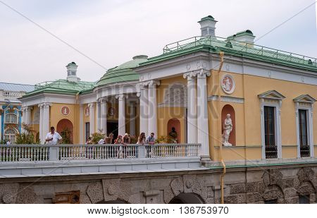 Saint-Petersburg Russia - June 26 2016: The Cameron gallery. Agatova room on the ramp in the Catherine park in Pushkin -Tsarskoe Selo-. Tourists visiting the sights.