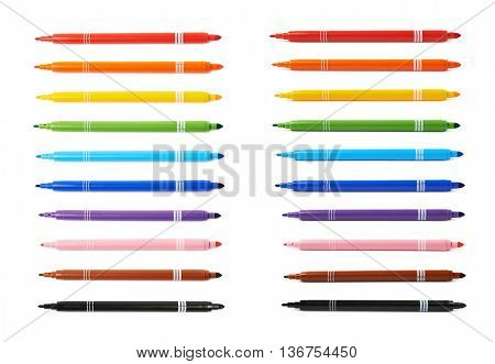 Felt-tip pen marker isolated over the white background, set of ten different colors each in two foreshortenings