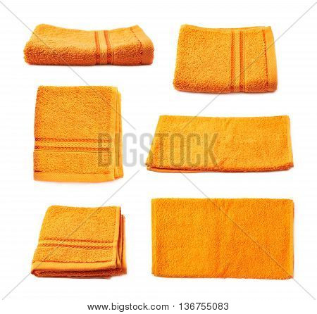 Single orange terry cloth towel isolated over the white background, set collection of six different foreshortenings