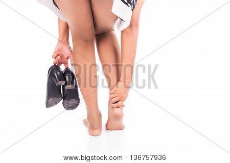 women ankle sprain court shoe on white background