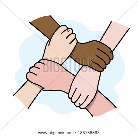Interracial Teamwork, a hand drawn vector illustration of 4 hands interlocking with each other, isolated on a simple background.