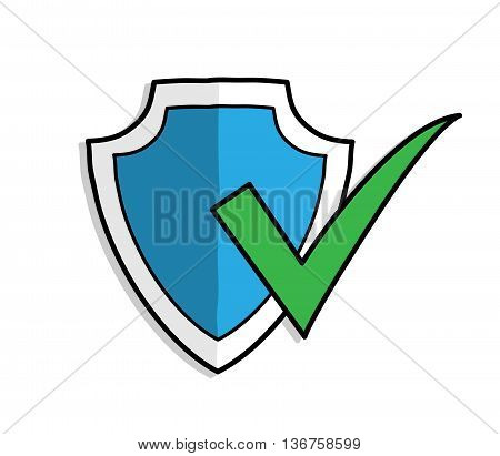 Antivirus Shield Protection ON, a hand drawn vector illustration of a antivirus shield protection symbol.