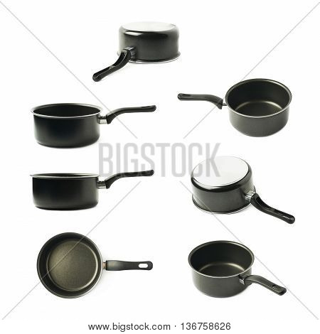 Teflon coated black sauce pan isolated over the white background, set of seven different foreshortenings