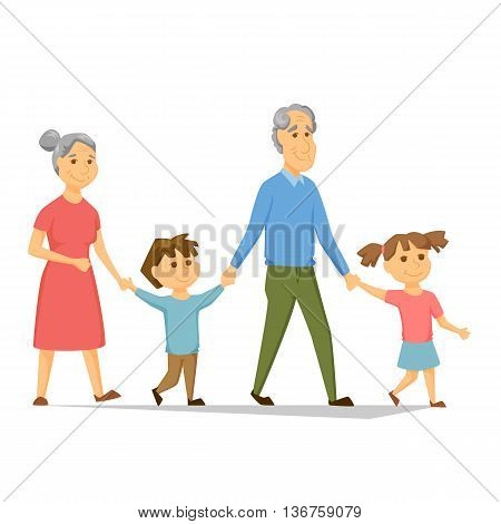 Grandparents with grandchildren walking. Old people have leisure with children. Grandma and Grandpa hold hands girl and a boy. Seniors activity. Joint generations walk. Happy family together