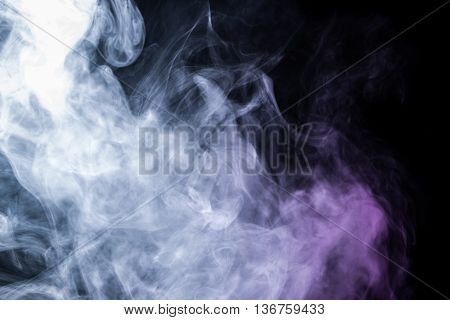 Abstract art. Smoke hookah on a black background. Inhalation. The steam generator. The concept of poison gas. Gas.