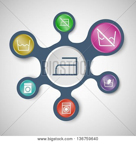 Laundry infographic templates with connected metaballs, stock vector