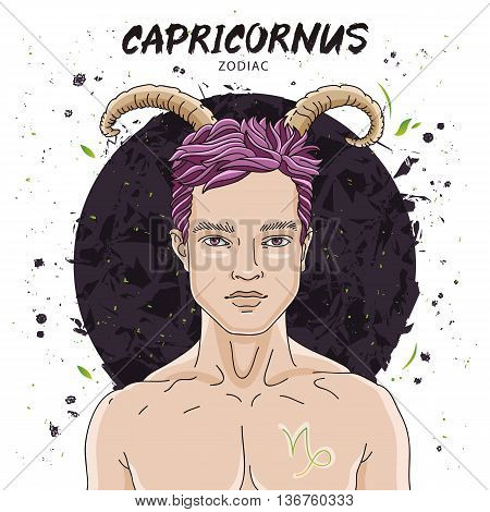 Portrait of a handsome young man. Astrological horoscope sign of Capricornus. The guy with the horns of the ibex. Vector illustration on white background. Concept zodiac sign. Great gift card.