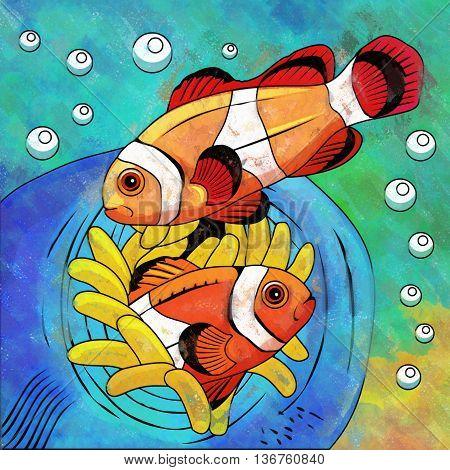 Fishes in aquarium. Bright colorful watercolor illustration.
