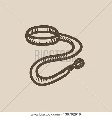 Dog leash and collar vector sketch icon isolated on background. Hand drawn Dog leash and collar icon. Dog leash and collar sketch icon for infographic, website or app.