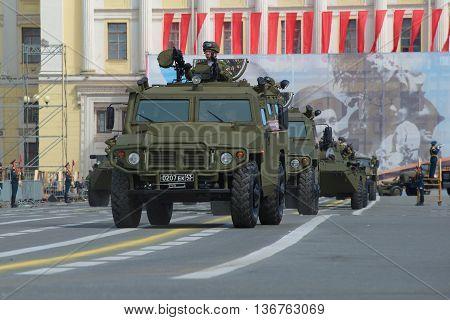 SAINT PETERSBURG, RUSSIA - MAY 05, 2015: Multi-purpose armored vehicle