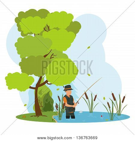 fisherman in waders fishing the bait. a fisherman on the lake fishing. a man fishes in the river. vector