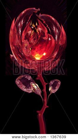 A Fiery Crystal Abstract Rose