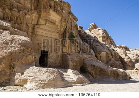 Cave Tomb In Nabataean City Of The Siq Al-barid In Jordan. It Is Known As The Little Petra