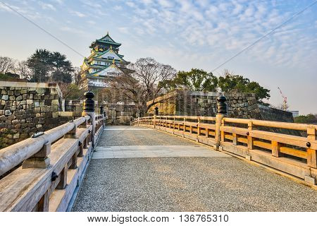 Osaka Japan- January 5 2016: Osaka Castle is a Japanese castle in Chuo-ku Osaka Japan. The castle is one of Japan's most famous landmarks and it played a major role in the unification of Japan.