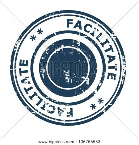 Facilitate business concept rubber stamp isolated on a white background.