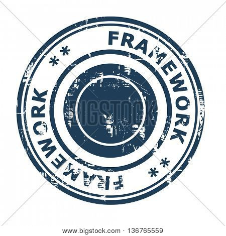 Framework business concept rubber stamp isolated on a white background.