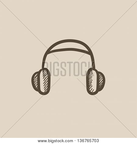 Headphone vector sketch icon isolated on background. Hand drawn Headphone icon. Headphone sketch icon for infographic, website or app.