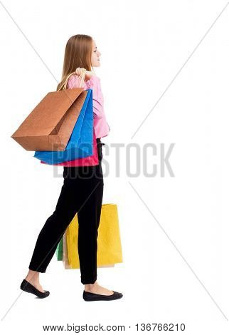 back view of going  woman  with shopping bags . beautiful girl in motion.  backside view person.  Rear people collection. Isolated over white background. businessman throwing shoulder bag.