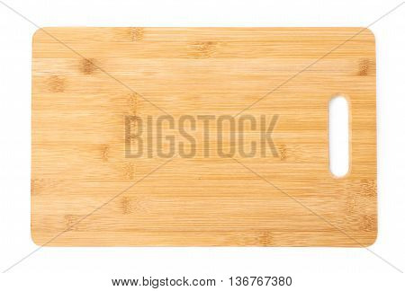 Wooden cutting board isolated over the white background